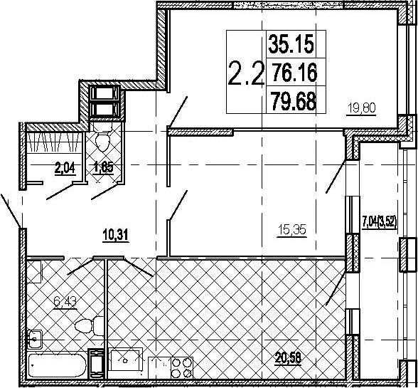 3Е-к.кв, 79.68 м²