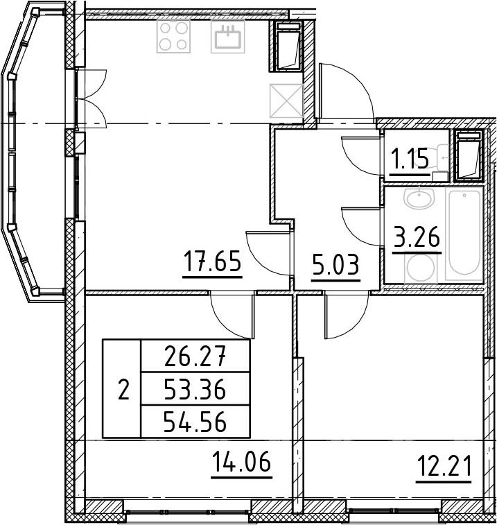 3-к.кв (евро), 57.36 м²