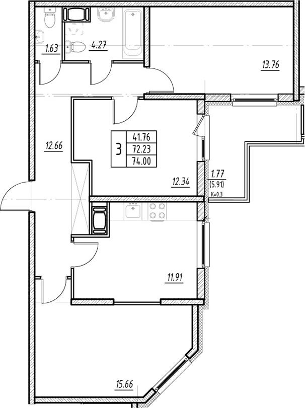 3-к.кв, 72.23 м², 6 этаж