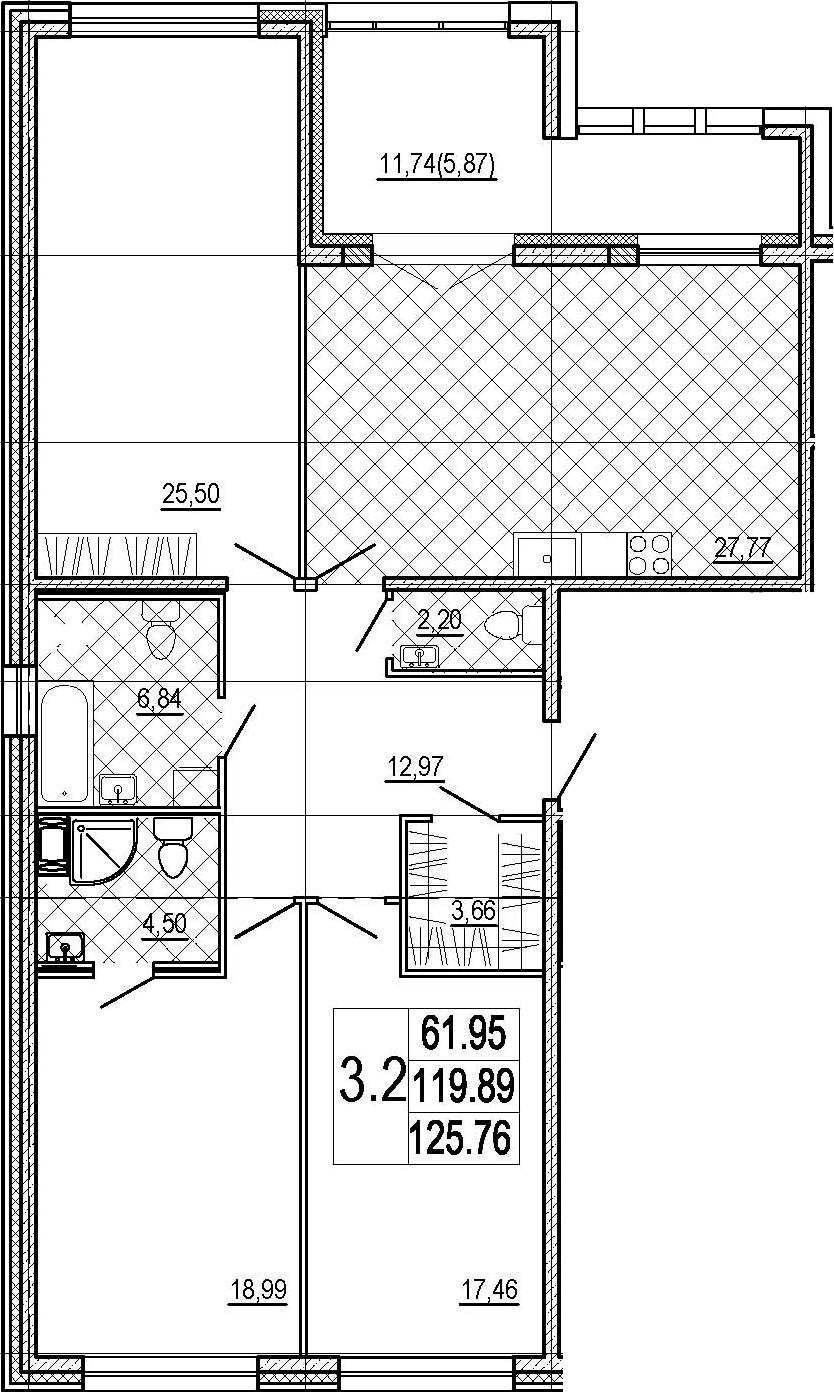 3-к.кв, 131.63 м²