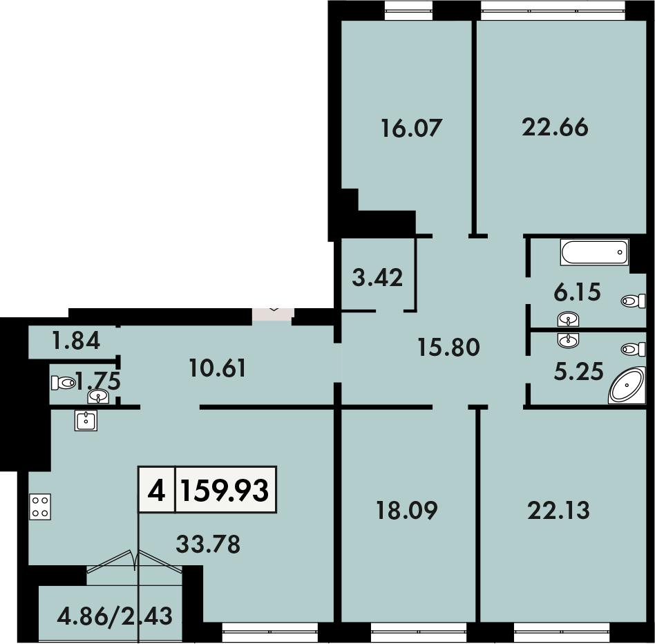 4-к.кв, 162.36 м²