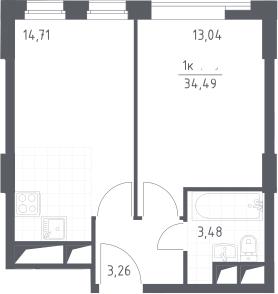 2Е-комнатная, 34.49 м²– 2