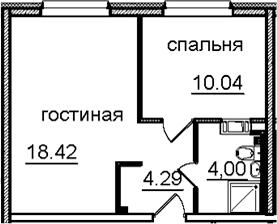 2Е-к.кв, 36.75 м²