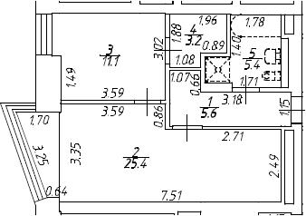 2Е-к.кв, 50.7 м²