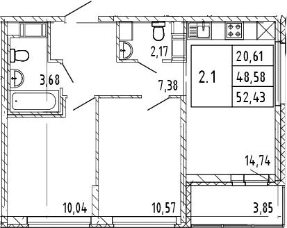 3Е-к.кв, 50.51 м², от 3 этажа