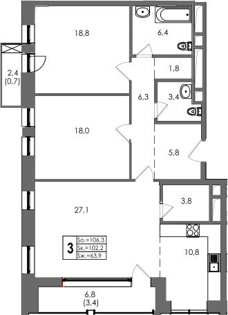 3-к.кв, 111.33 м²