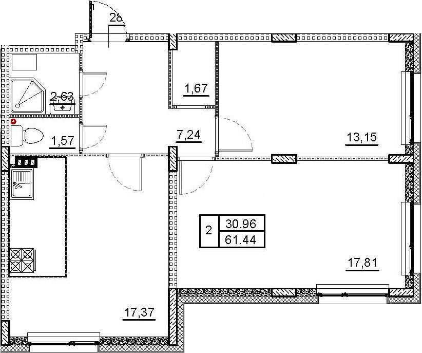 3-к.кв (евро), 61.44 м²