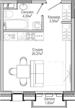 Студия, 28.52 м²