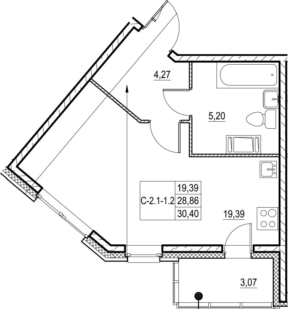 Студия, 31.94 м²