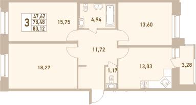 3-к.кв, 80.12 м²