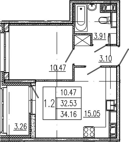 2Е-к.кв, 32.53 м², 3 этаж