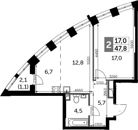 2Е-к.кв, 47.8 м²
