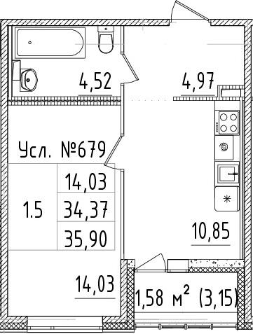 1-к.кв, 34.37 м²