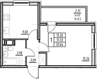 1-к.кв, 31.33 м²