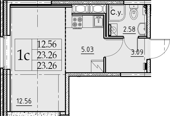 Студия, 23.26 м²– 2