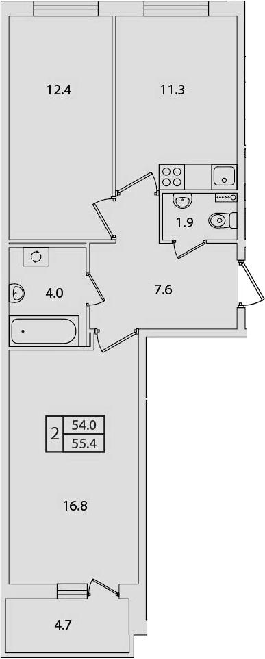 2-к.кв, 55.4 м², 2 этаж
