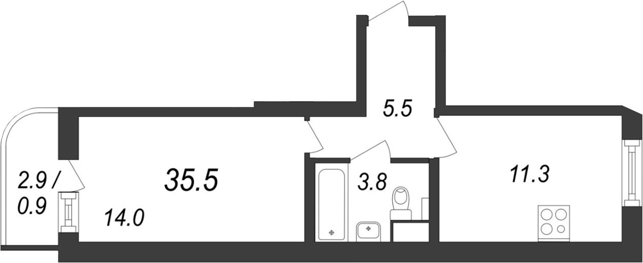 1-к.кв, 37.6 м²