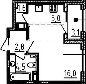 Студия, 31.5 м²– 2