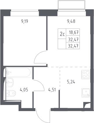 2Е-комнатная, 32.47 м²– 2