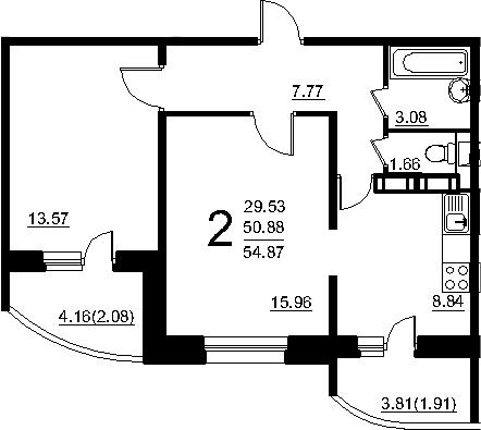 2-к.кв, 58.89 м²