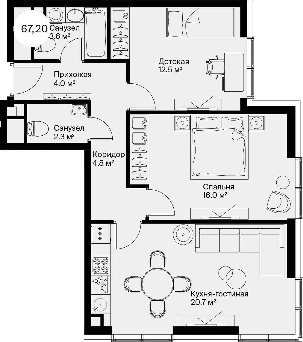 3Е-к.кв, 67.2 м²