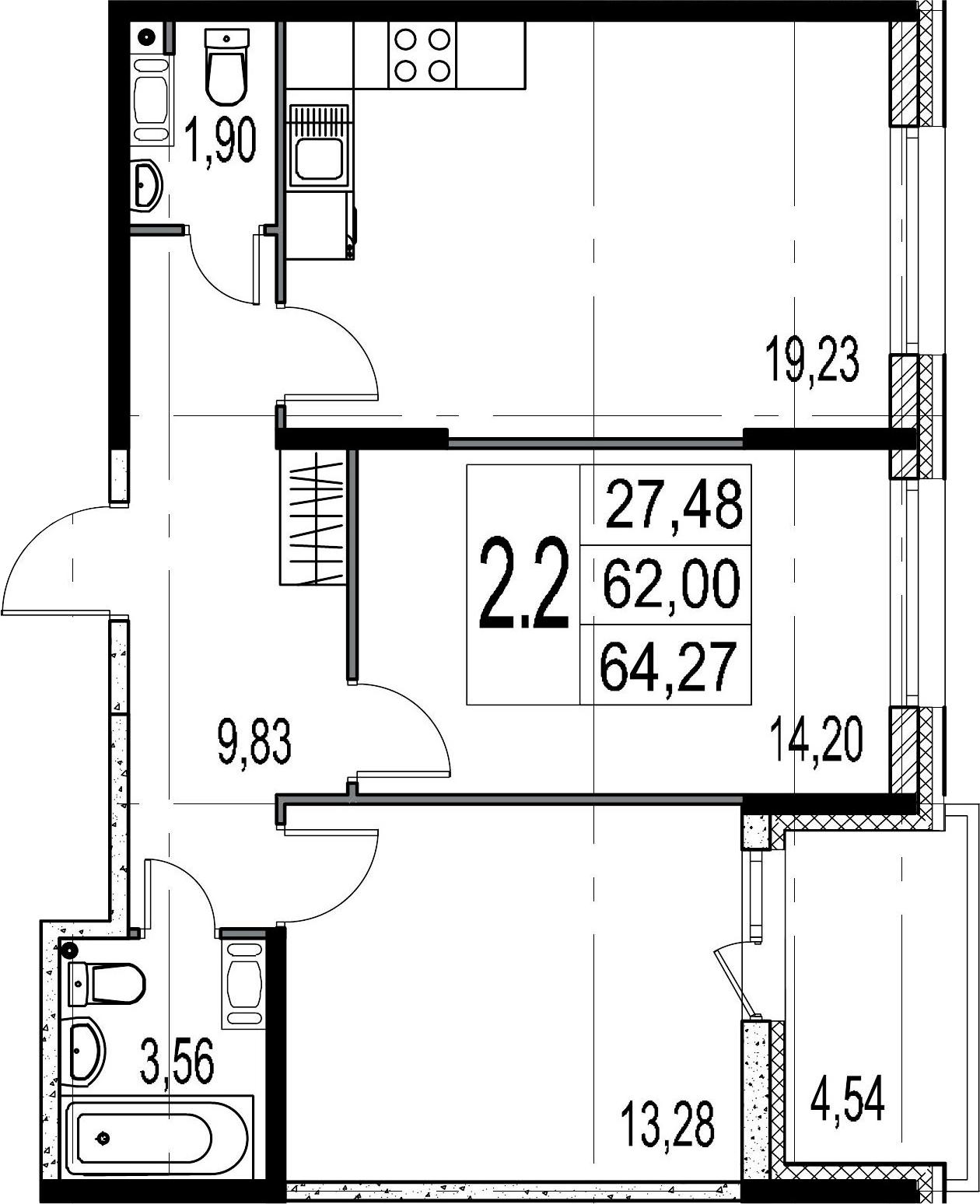 3-к.кв (евро), 66.54 м²