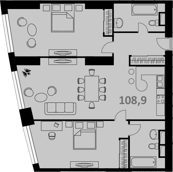 Своб. план., 107 м², от 51 этажа