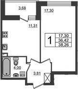 1-комнатная, 36.42 м²– 2