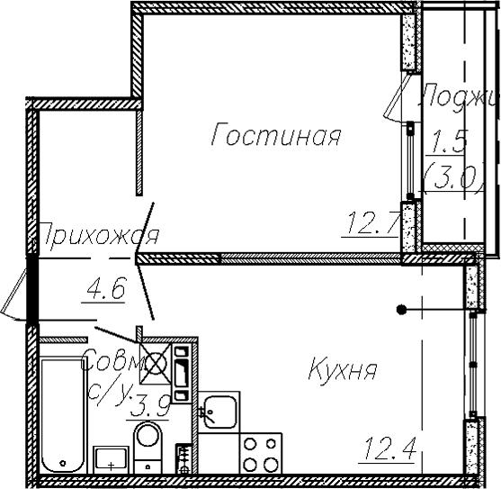 1-к.кв, 33.6 м², 4 этаж