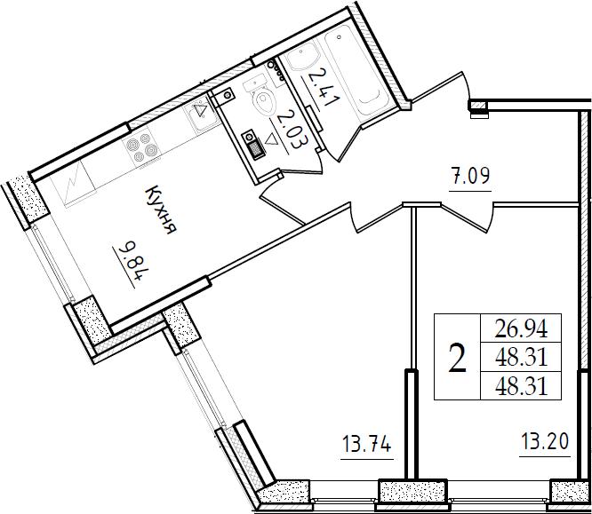 2-к.кв, 48.31 м²