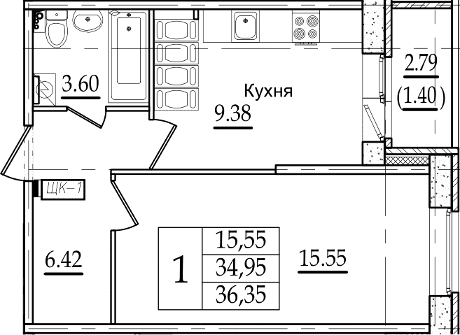 1-комнатная, 36.35 м²– 2