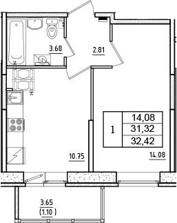 1-к.кв, 32.42 м², 13 этаж