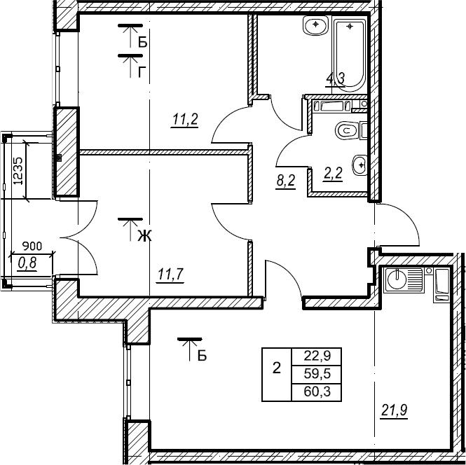 2-к.кв, 60.3 м², от 8 этажа