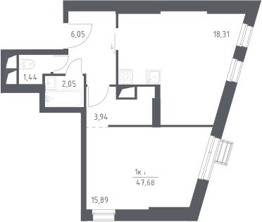 2Е-комнатная, 47.68 м²– 2