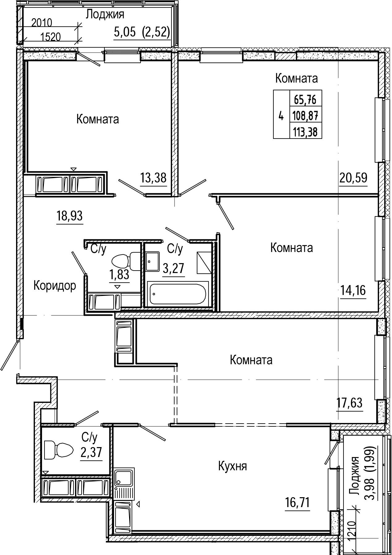 5-к.кв (евро), 117.89 м²