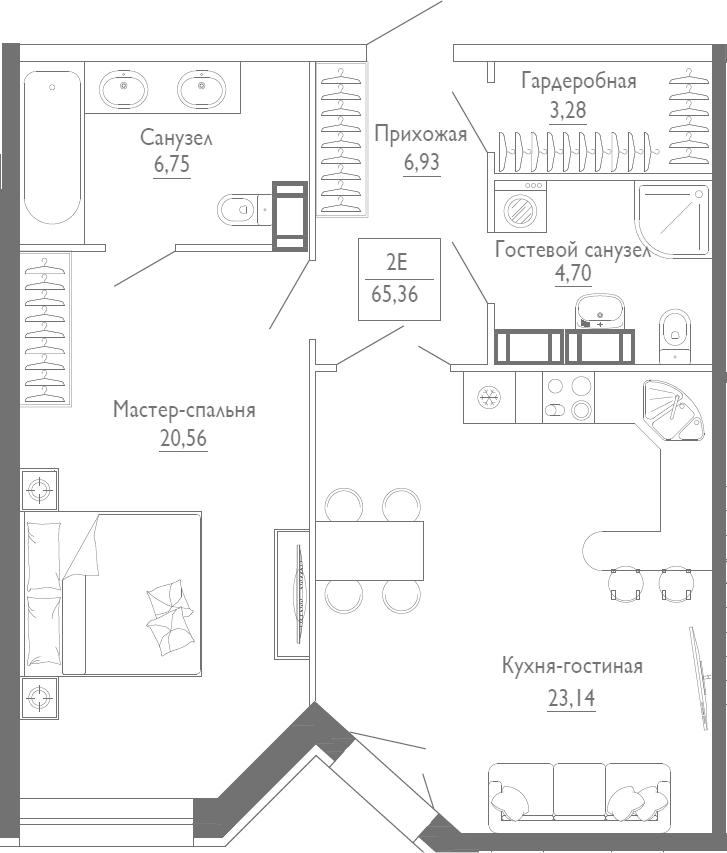 2Е-к.кв, 65.36 м², 5 этаж