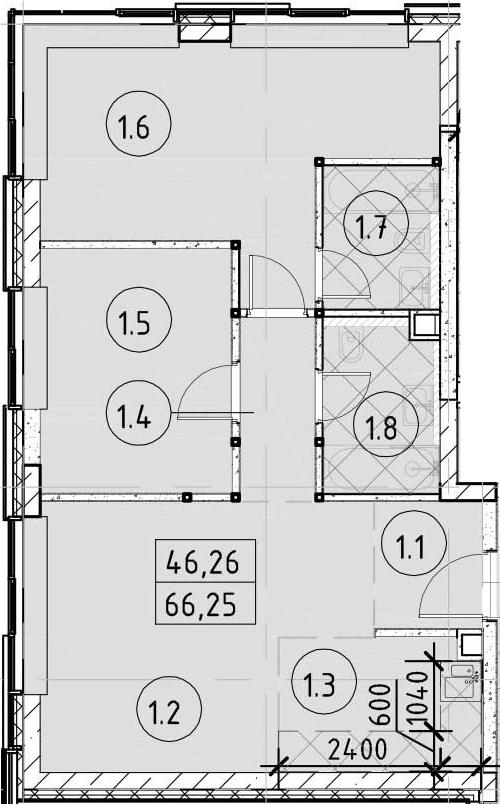 3Е-комнатная, 66.25 м²– 2