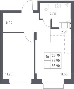 2Е-к.кв, 35.9 м², 7 этаж