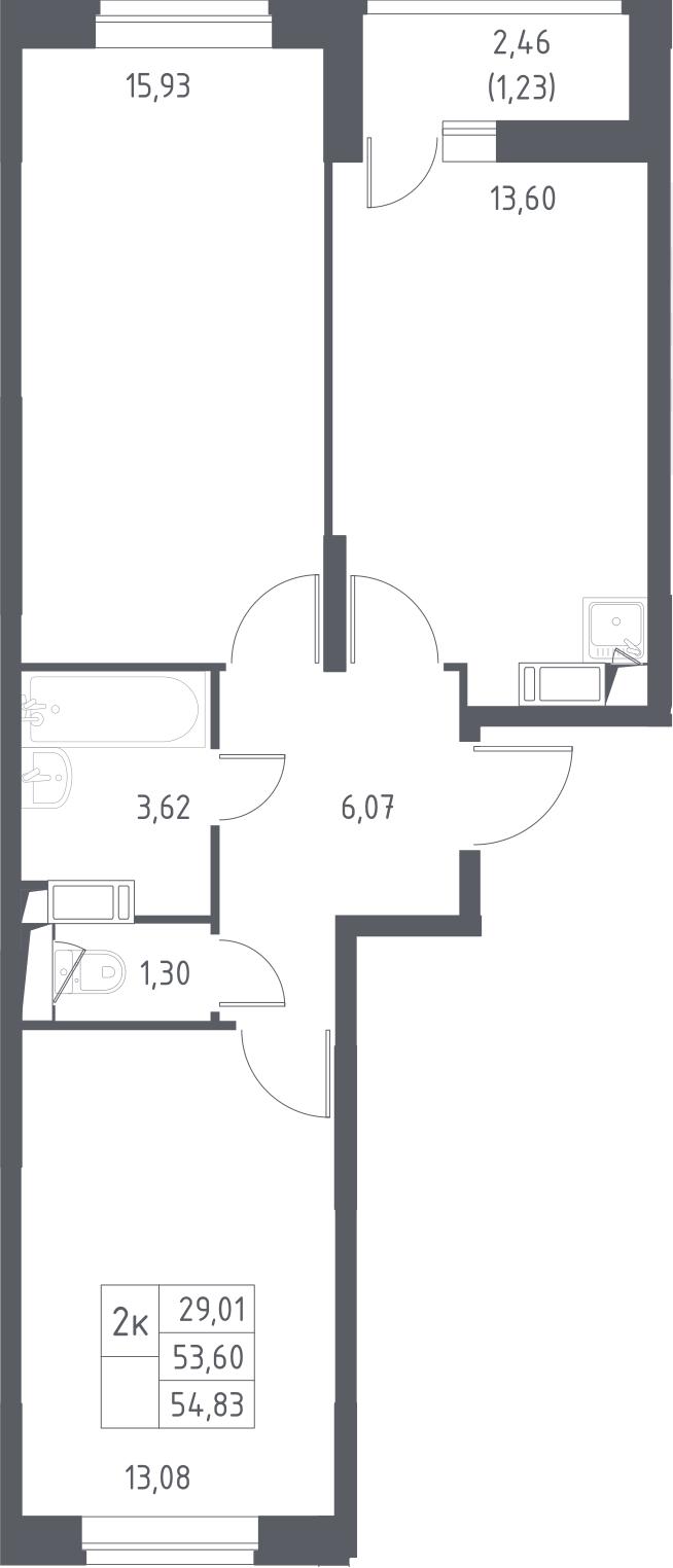 2-комнатная, 54.83 м²– 2