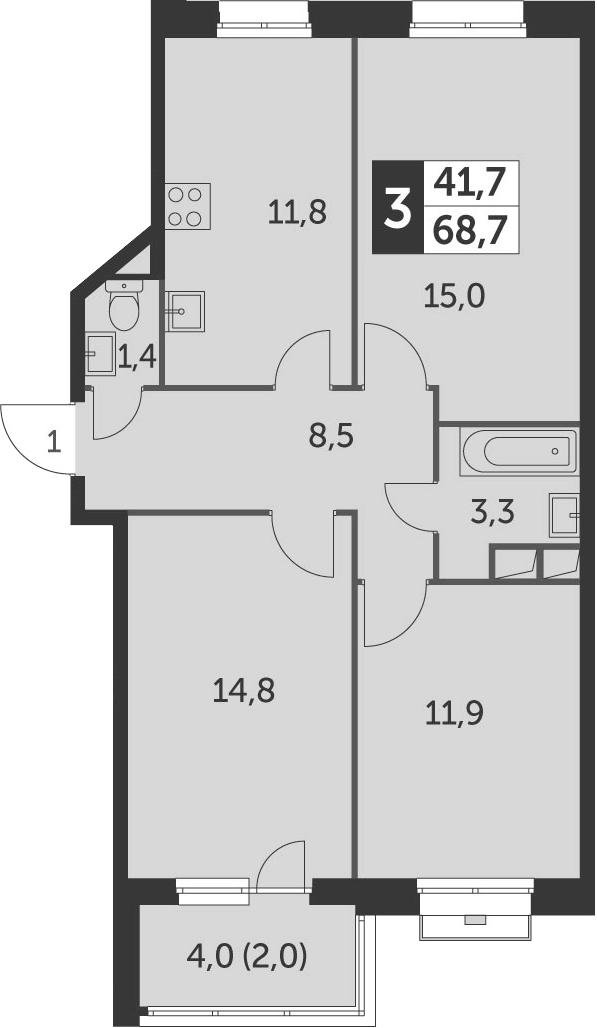3-к.кв, 68.7 м²