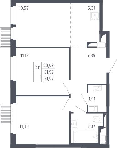 3Е-к.кв, 51.97 м²