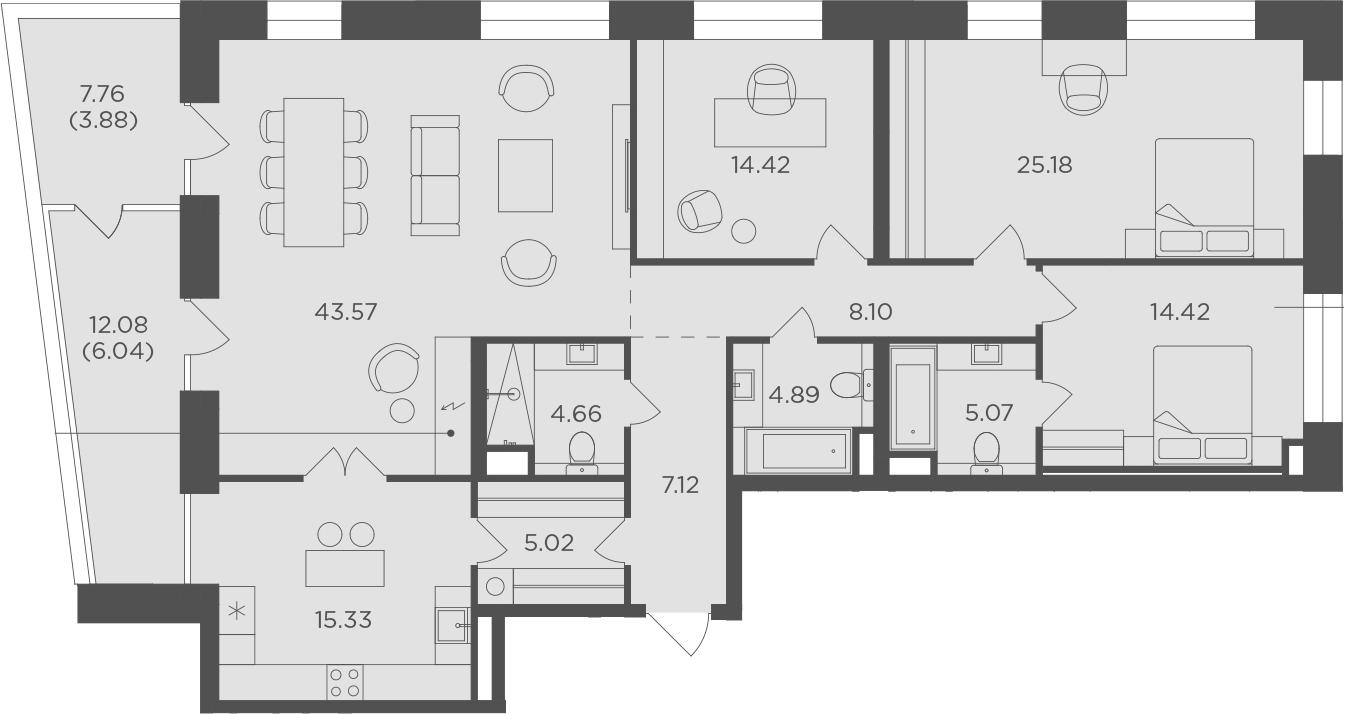 4-к.кв, 157.7 м²