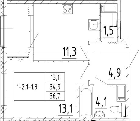 1-комнатная, 36.7 м²– 2