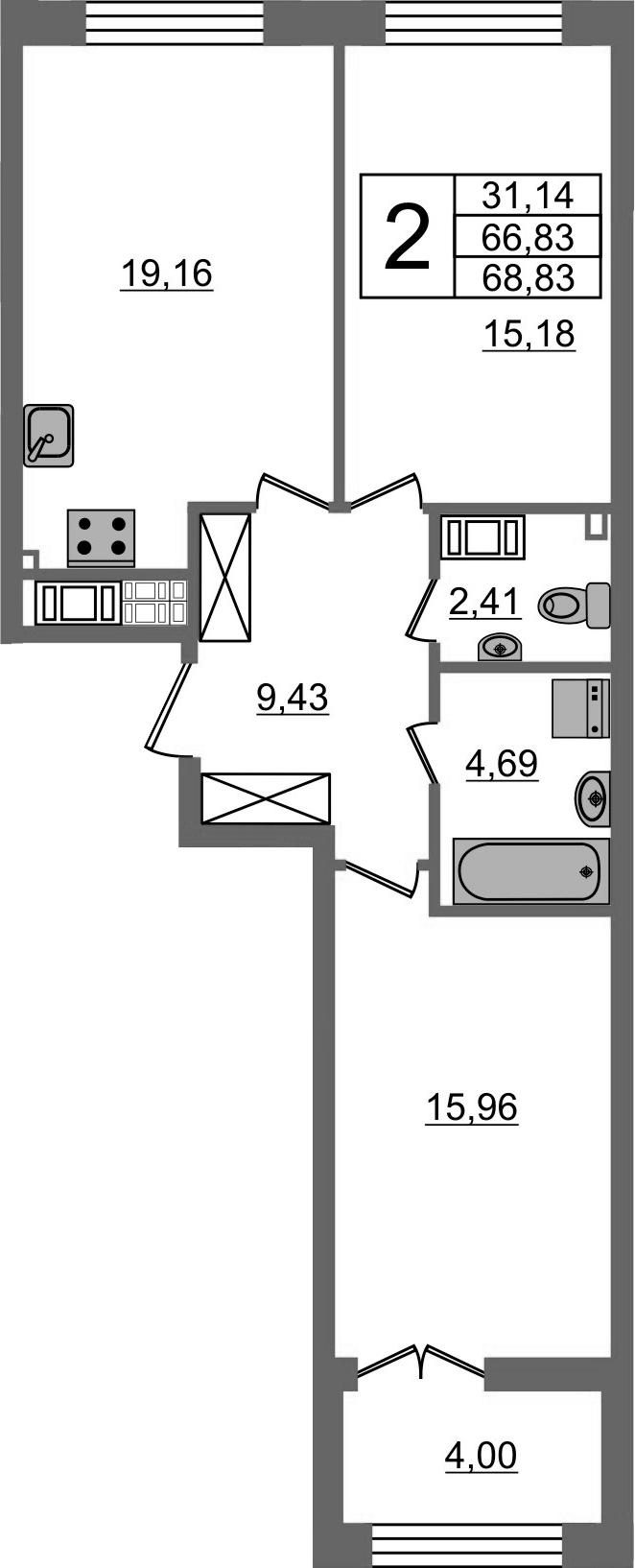 3Е-комнатная, 66.83 м²– 2