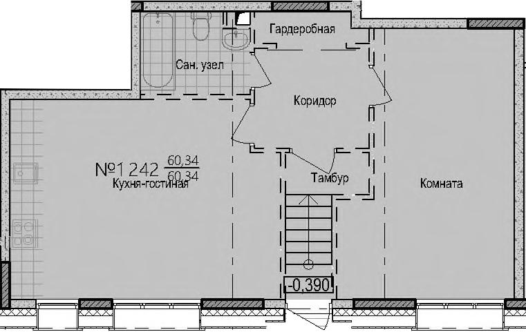 Своб. план., 60.34 м²