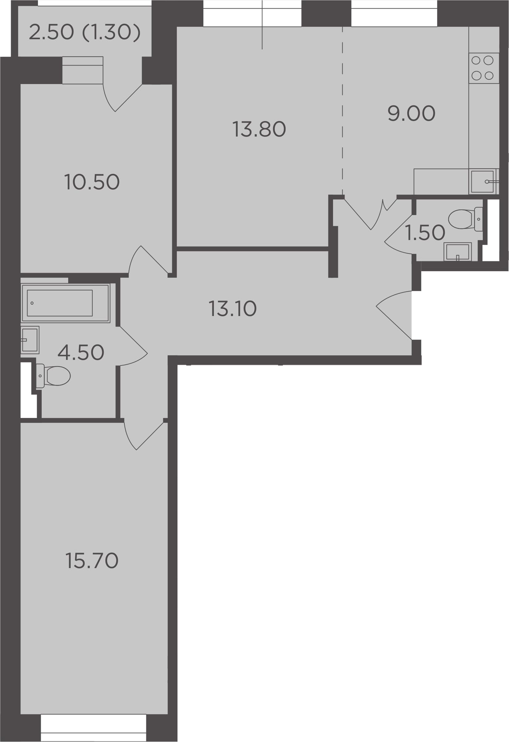 3Е-комнатная, 69.4 м²– 2