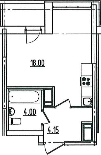 Студия, 27.49 м², 5 этаж – Планировка