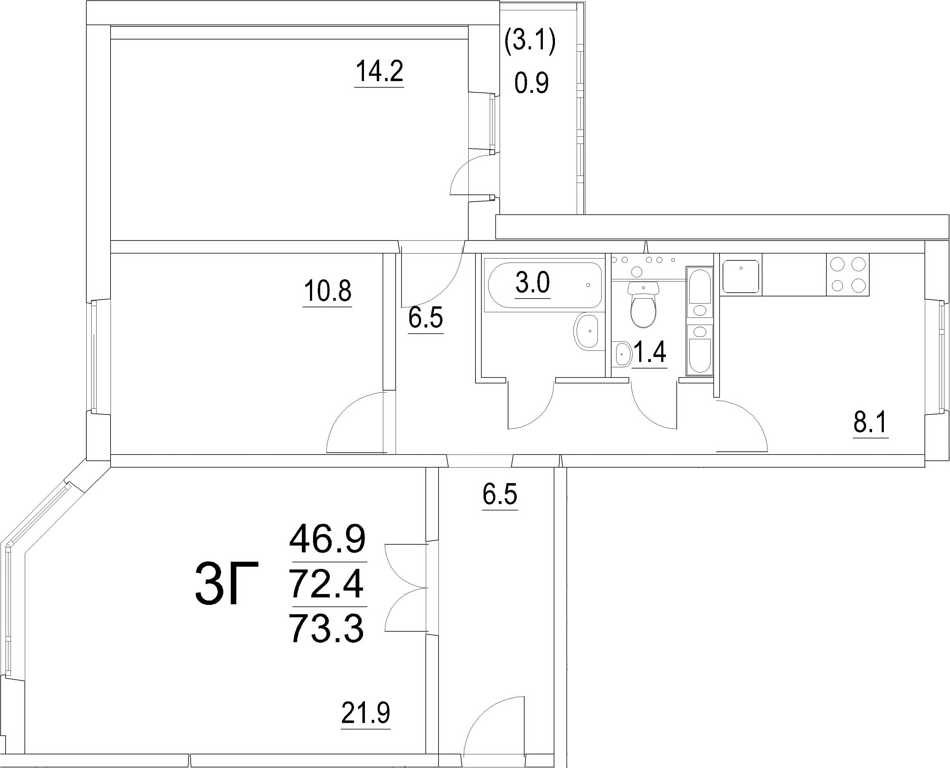 3-комнатная квартира, 73.3 м², 16 этаж – Планировка
