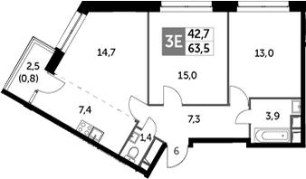 3Е-к.кв, 63.5 м²