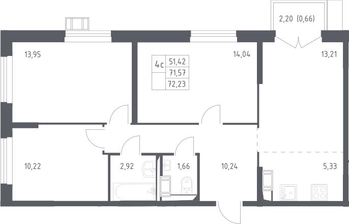 4Е-комнатная, 72.23 м²– 2